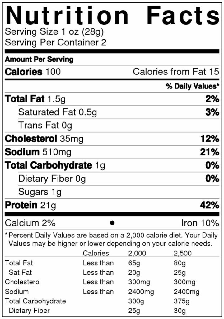 Green Chile Nutrition Label