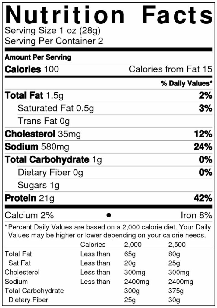Jalapeno Lime Nutrition Label
