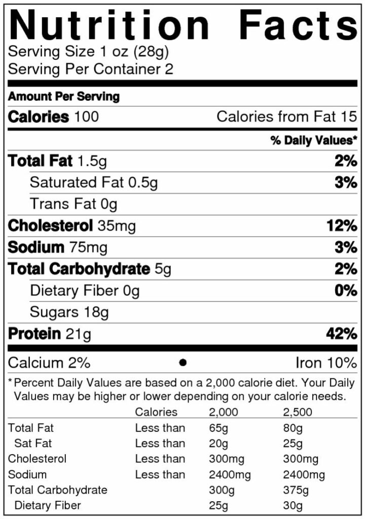 Sweet & Spicy Nutrition Label